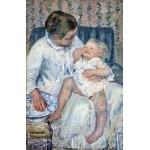 Mujer bañando a su dormido niño, Cassatt, Algomasquearte