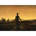 Mujer delante del sol poniente, Friedrich, Algomasquearte