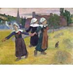 Tres chicas bretonas bailando, Gauguin, Algomasquearte