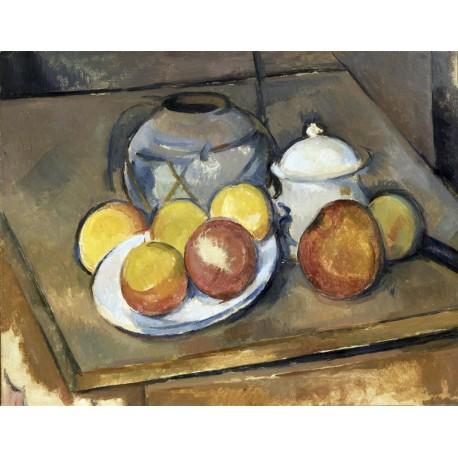 Jarrón, Azucar y manzanas, Cezanne, Algomasquearte