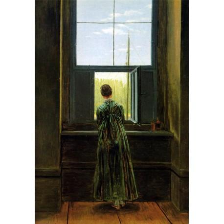 Mujer asomada a la ventana, Friedrich, Algomasquearte