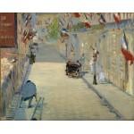 La calle Mosnier con banderas, Manet, Algomasquearte