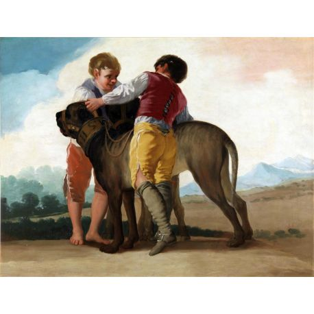 Niños con perros de presa-Goya-Algomasquearte